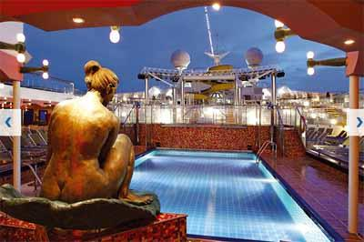 A night view of Lido Maratea, the pool located on Costa Magica's deck 9