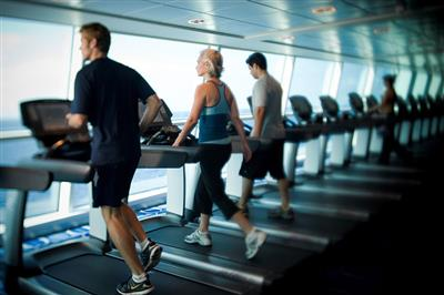 Passengers are training in the Celebrity Eclipse's gym.