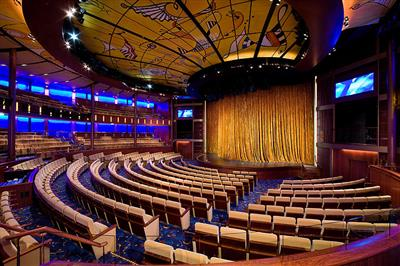 The Solstice Theatre on Celebrity Solstice,  a large venue for Broadway-style shows and a variety of evening performances