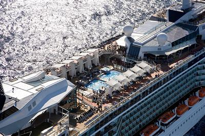 An aerial view of Celebrity Solstice' swimmming pool.