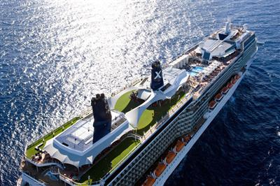 An aerial view of Celebrity Solstice.