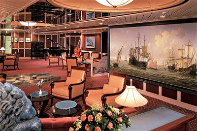 The Explorer's Lounge on deck 4 has elegant furniture