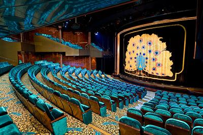 The Stardust Theatre, NCL's main entertainment venue, on Pearl it spans decks 5, 6 and 7