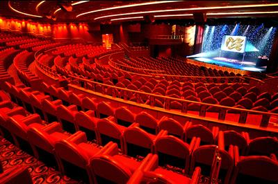 A view of the theatre, where performers from around the globe come togheter onboard of Caribbean Princess.