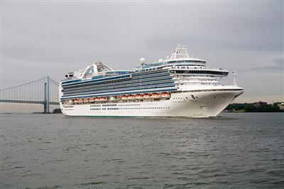 Crown Princess under a grey sky