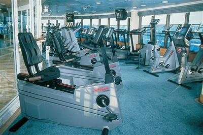 The gym equipment on the Grand Princess