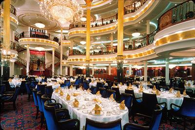 The elegant venue of the main dining room on P&O's Adventure of the Seas.