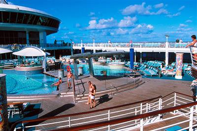The swimming-pool and deck-chairs area on the Adventure of the Seas