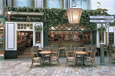 The Crown and Kettle, an English themed pub with 75  seats is located on the Explorer's Royal Promenade.