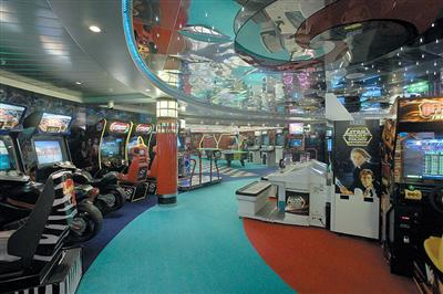 The videogames arcade of the Explorer of the Seas
