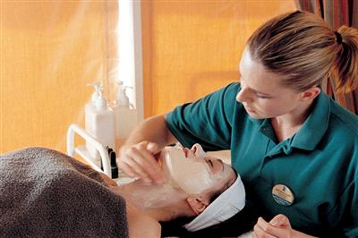 A facial treatment  on  Explorer's Spa