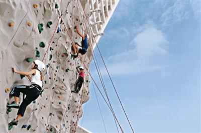 The Rock Wall, an outdoor climbing wall on deck  14