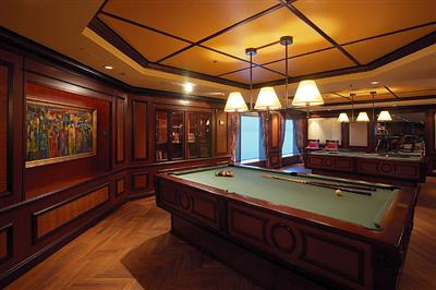Two gyro pool tables in the Games Reserve Room on deck 6 of the Serenade of the Seas