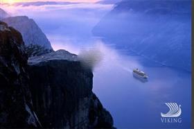 Viking Sky sailing a fjord