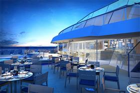 The outdoor deck bar on the Viking Sun