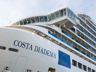 Close-up of Costa Diadema's name printed on the vessel's side