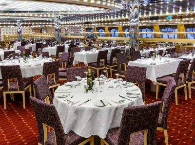 Sissi Restaurant, the main dining room split on two levels between deck 3 and 4