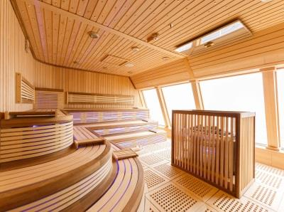 Detail of a heated lounger inside Samsara, the Spa onboard Costa Diadema