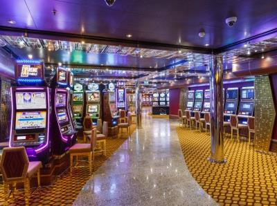 More rows of slots in the onboard casino on Costa Diadema