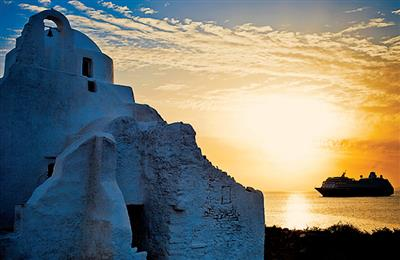 A stunning picture of Azamara Quest taken from Mykonos.