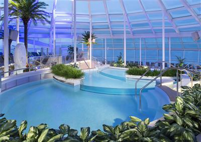 The indoor solarium pool on the Quantum of the Seas