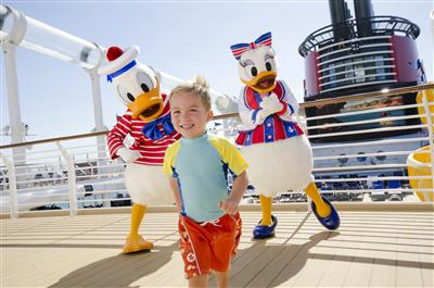 Donald and Daisy Duck play with a kid
