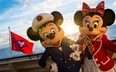 Mickey and Minnie Mouse pose on the deck