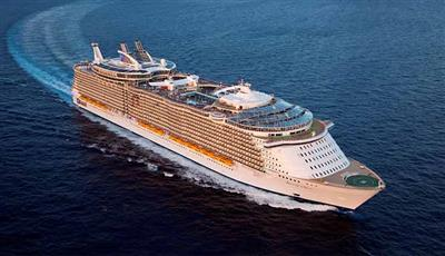 An aerial view of Allure of the Seas.