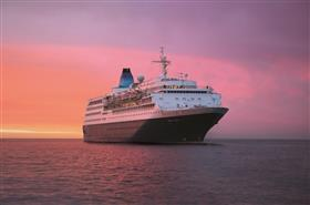 Saga Sapphire sailing in the sunset