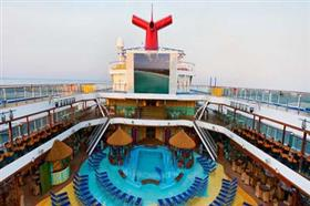 An aerial view of the outdoor swimming pool on Carnival Fascination.
