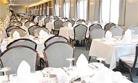 The Veranda Restaurant, aft of the Bridge Deck, is a self-service venue