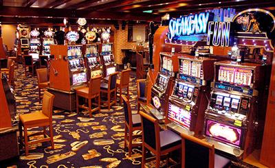 Slot machines inside Crown Princess' casino