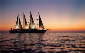 Wind Star sailing at night