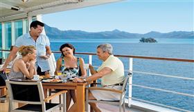 Dining on the ship's bridge