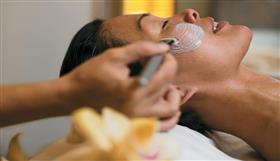 Close-up of a facial in the gym's spa