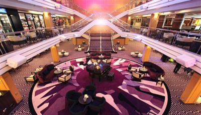 The stylish atrium of the reception deck 5 on Columbus, by Cruise and Maritime