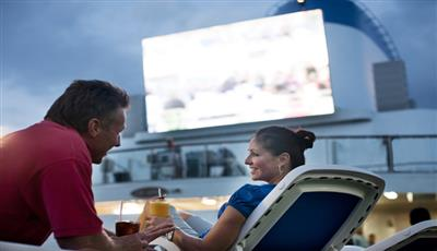 The big screen  on the top deck