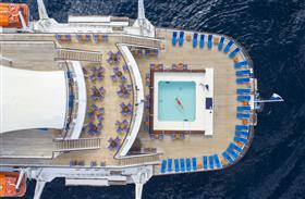 The swinning pool in the stern area of the cruise ship Club Med2