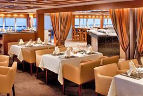 The Colonnade, the indoor/outdoor restaurant on the Seabourn Encore