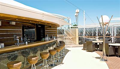 The One Bar, a buffet and bar reserved to MSC Yacht Club's passengers