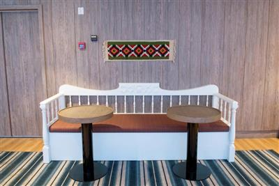 Bench and tables in the Panorama Café