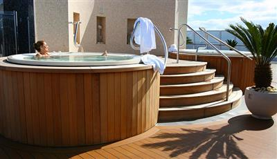 One of the two Jacuzzi next to the pool on Riviera