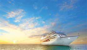 Sirena by Oceania Cruises sailing in the golden hour