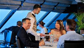 Happy diners on the Sirena by Oceania Cruises