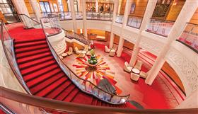 The Grand Stairs accessing Britannia, the formal dining room on Queen Mary 2