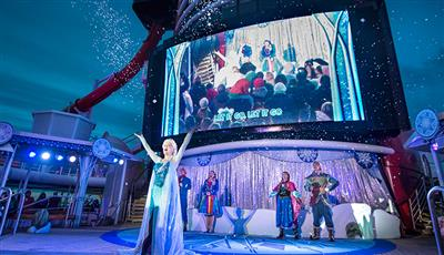 Frozen screened on the top deck's giant screen