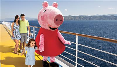 Peppa Pig  walks with a little girl on the top deck