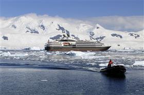 Le Boreal sailing among polar ices