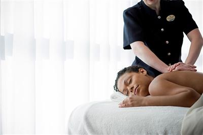 A massage being performed at Celebrity Solstice's Spa.