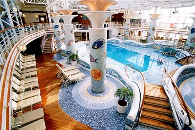 The Lap pool, and adult only pool in Sapphire Princess' Lotus Spa